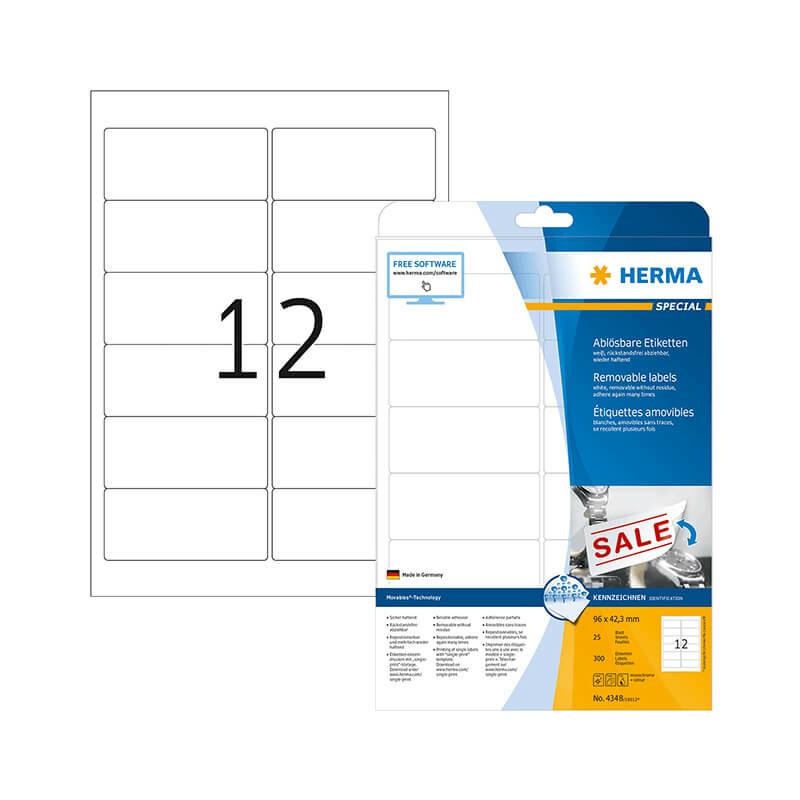 96*42,3 mm-es Herma A4 íves etikett címke, fehér színű (25 ív/doboz)