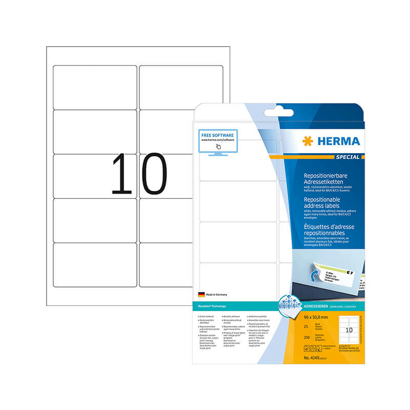 96*50,8 mm-es Herma A4 íves etikett címke, fehér színű (25 ív/doboz)