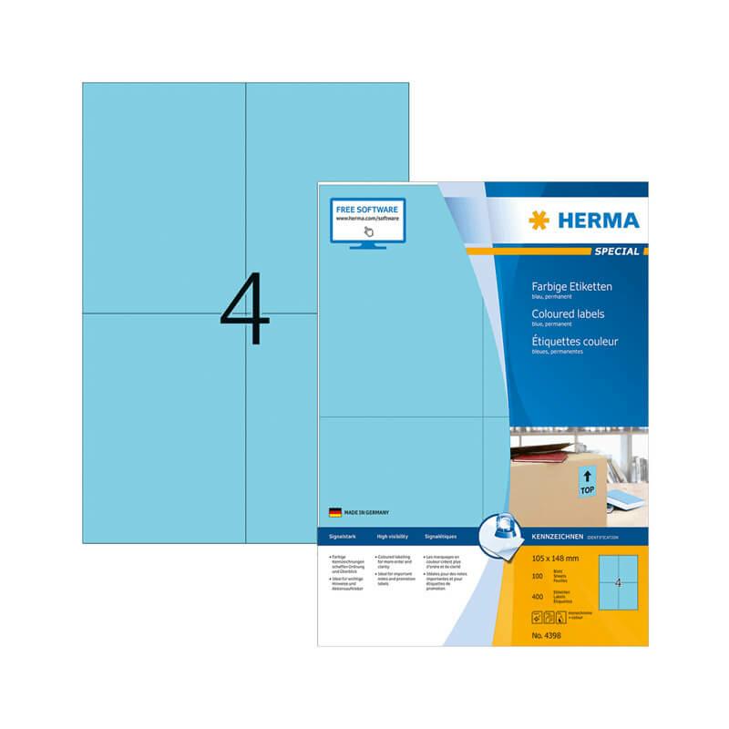 105*148 mm-es Herma A4 íves etikett címke, kék színű (100 ív/doboz)