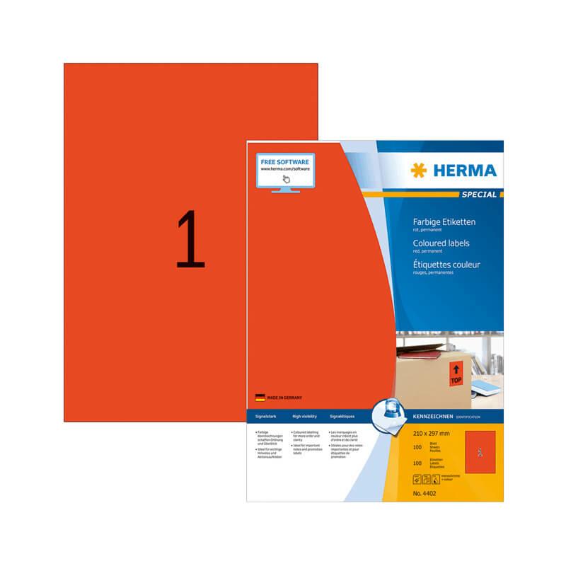 210*297 mm-es Herma A4 íves etikett címke, piros színű (100 ív/doboz)