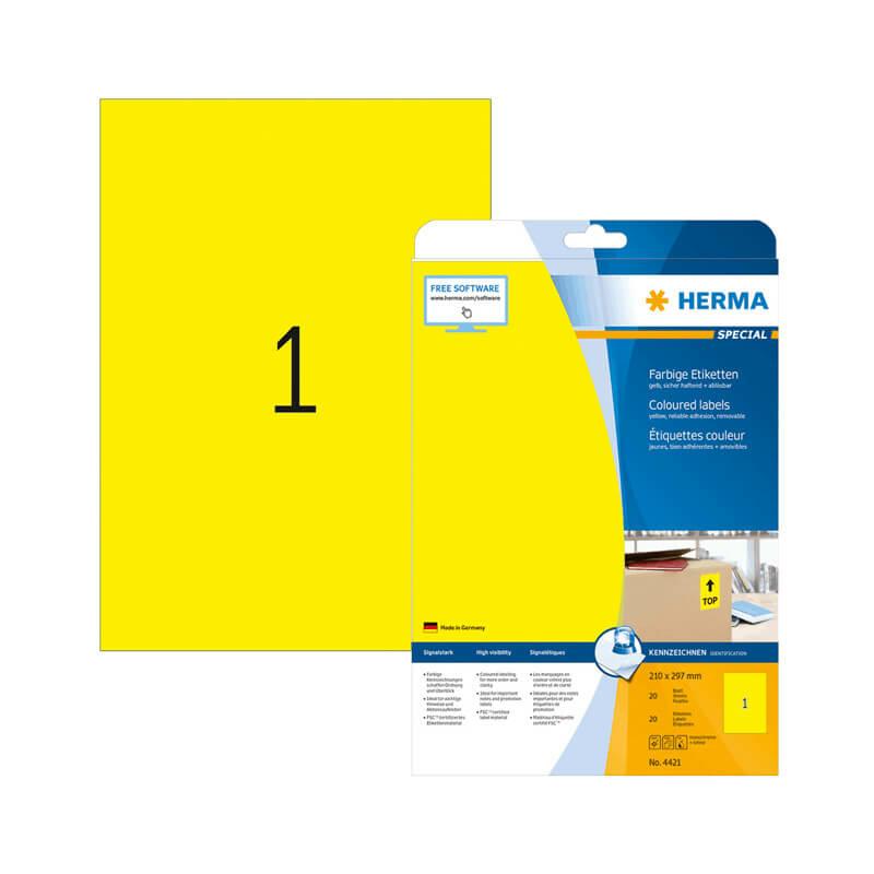210*297 mm-es Herma A4 íves etikett címke, sárga színű (20 ív/doboz)