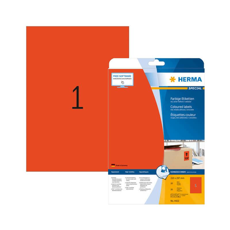210*297 mm-es Herma A4 íves etikett címke, piros színű (20 ív/doboz)