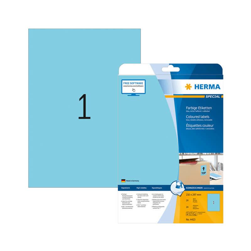 210*297 mm-es Herma A4 íves etikett címke, kék színű (20 ív/doboz)