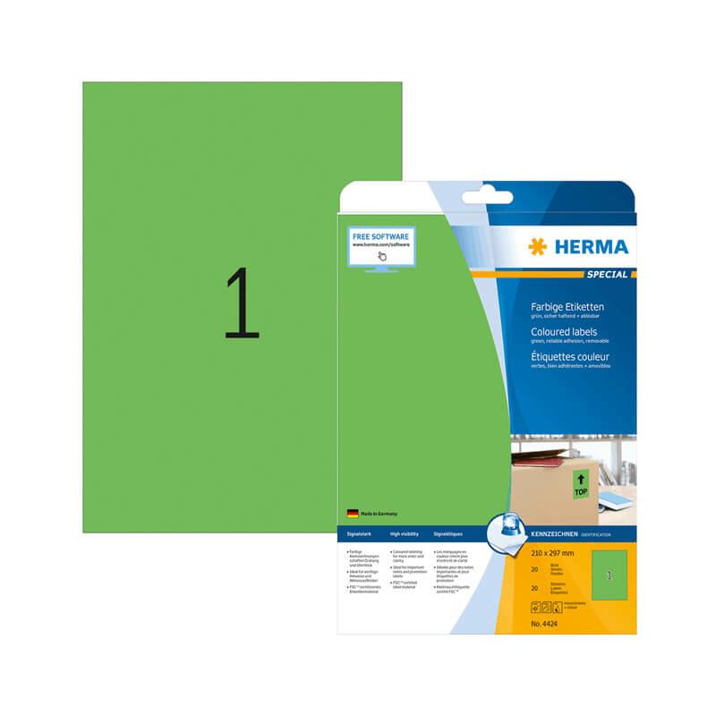 210*297 mm-es Herma A4 íves etikett címke, zöld színű (20 ív/doboz)