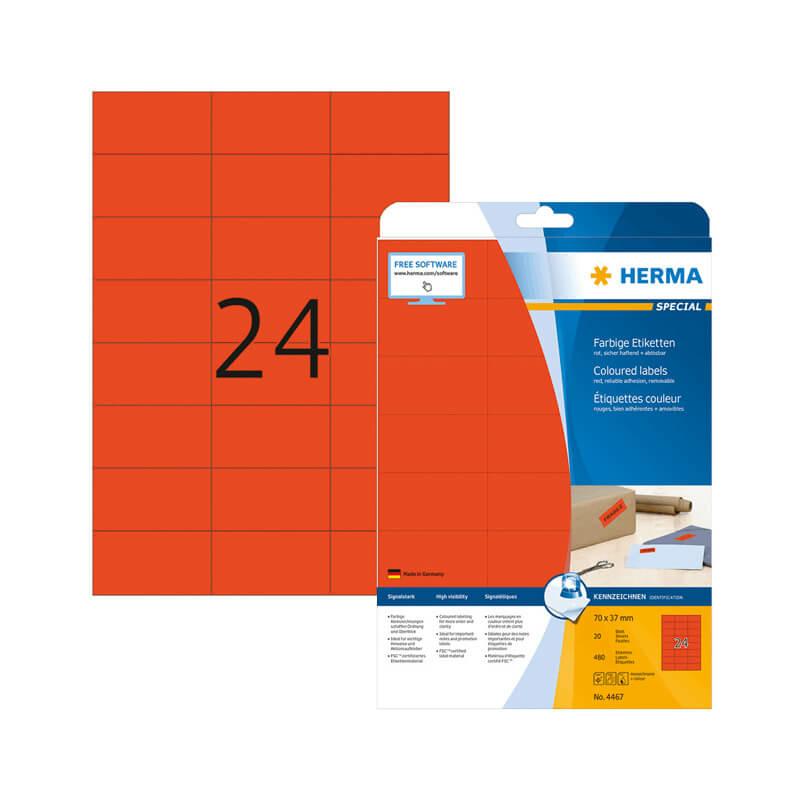 70*37 mm-es Herma A4 íves etikett címke, piros színű (20 ív/doboz)