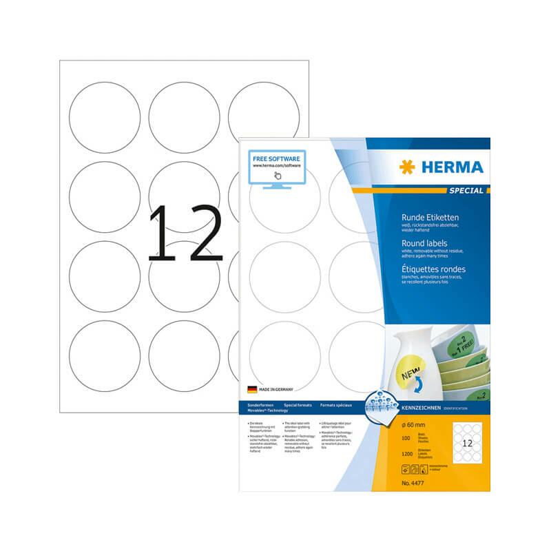 60 mm-es Herma A4 íves etikett címke, fehér színű (100 ív/doboz)