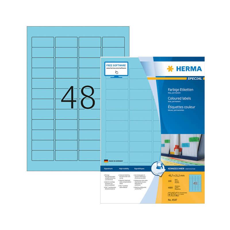 45,7*21,2 mm-es Herma A4 íves etikett címke, kék színű (100 ív/doboz)