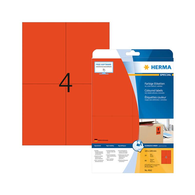 105*148 mm-es Herma A4 íves etikett címke, piros színű (20 ív/doboz)