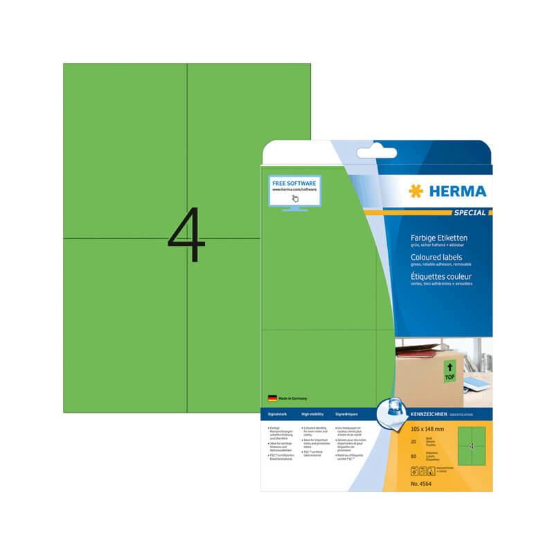105*148 mm-es Herma A4 íves etikett címke, zöld színű (20 ív/doboz)