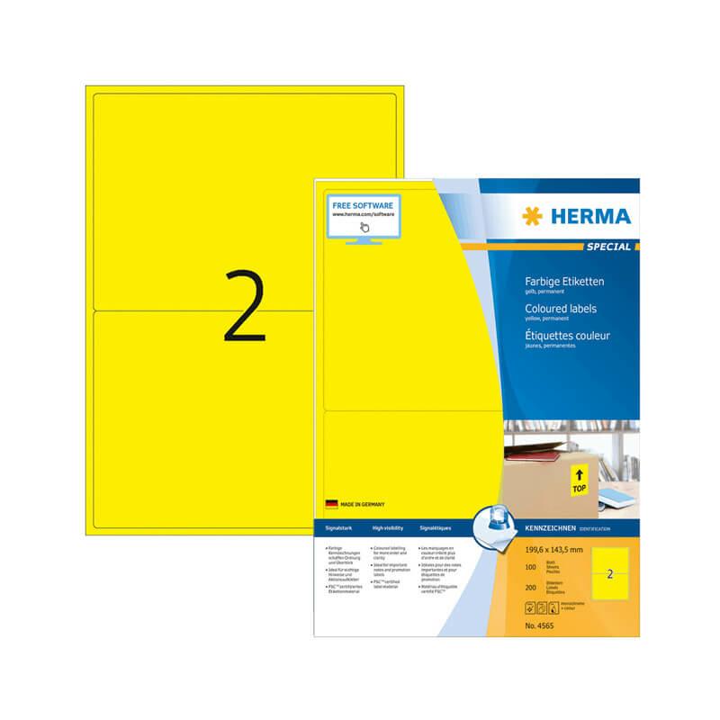 199,6*143,5 mm-es Herma A4 íves etikett címke, sárga színű (100 ív/doboz)