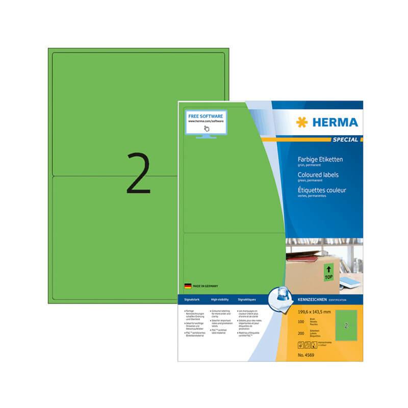 199,6*143,5 mm-es Herma A4 íves etikett címke, zöld színű (100 ív/doboz)