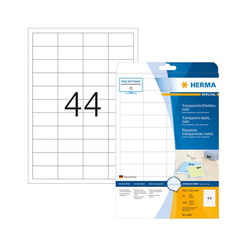 48,3*25,4 mm-es Herma A4 íves etikett címke, átlátszó (víztiszta) színű (25 ív/doboz)