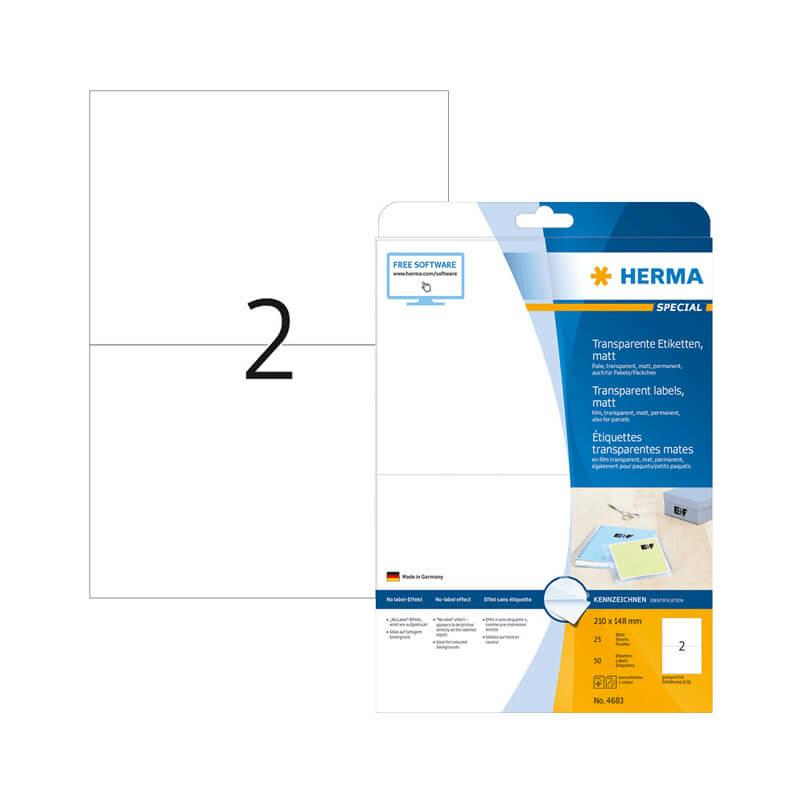 210*148 mm-es Herma A4 íves etikett címke, átlátszó (víztiszta) színű (25 ív/doboz)
