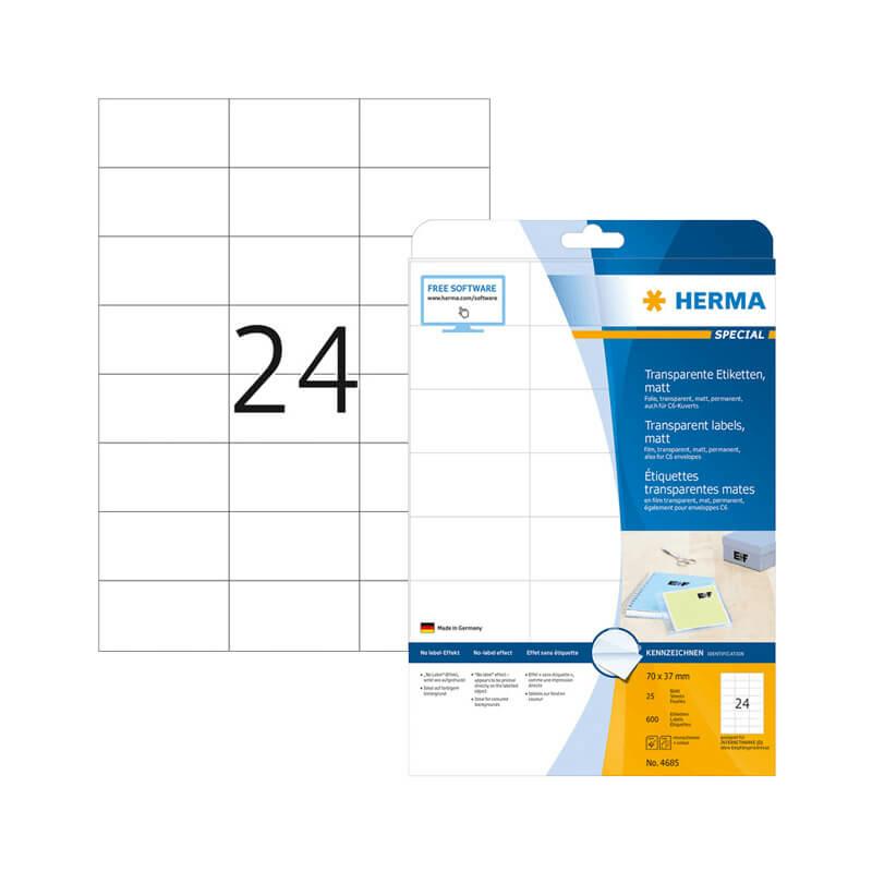 70*37 mm-es Herma A4 íves etikett címke, átlátszó (víztiszta) színű (25 ív/doboz)