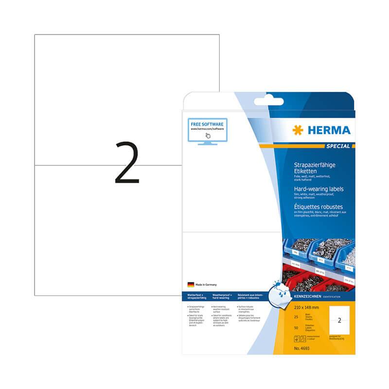 210*148 mm-es Herma A4 íves etikett címke, fehér színű (25 ív/doboz)