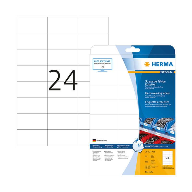70*37 mm-es Herma A4 íves etikett címke, fehér színű (25 ív/doboz)