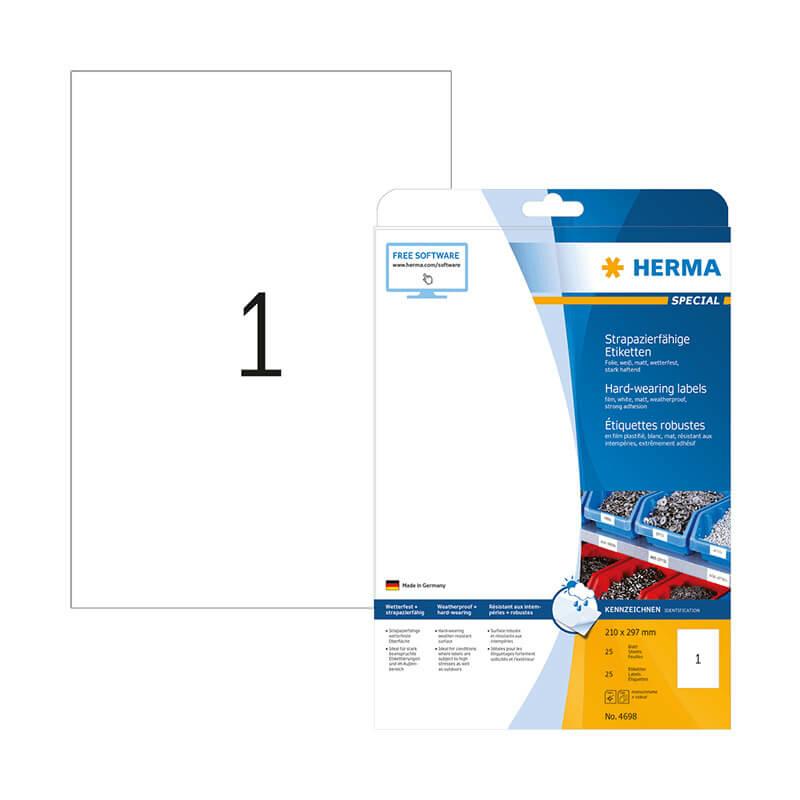 210*297 mm-es Herma A4 íves etikett címke, fehér színű (25 ív/doboz)