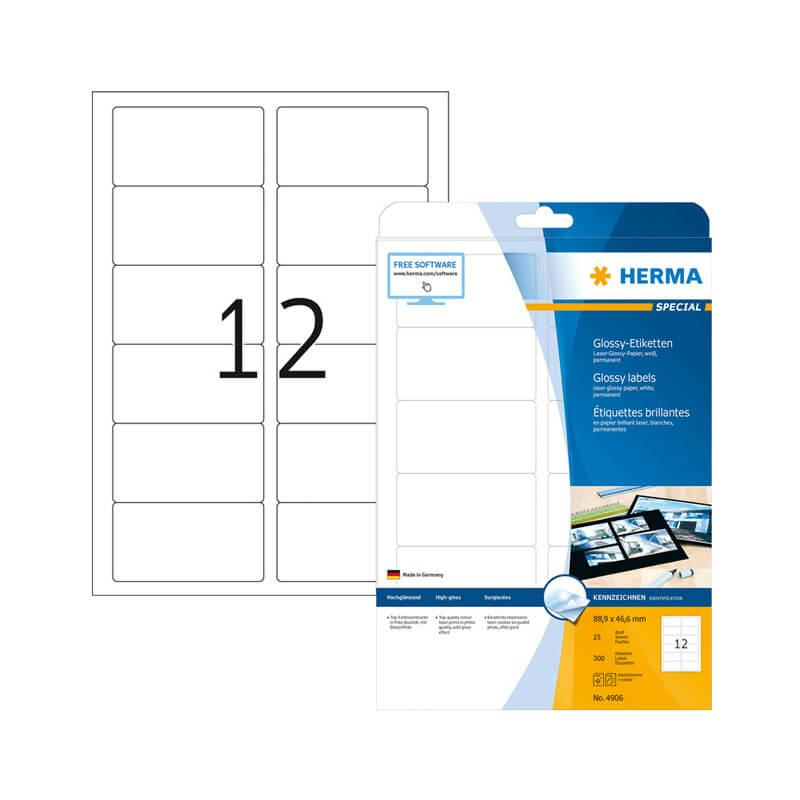 88,9*46,6 mm-es Herma A4 íves etikett címke, fehér színű (25 ív/doboz)