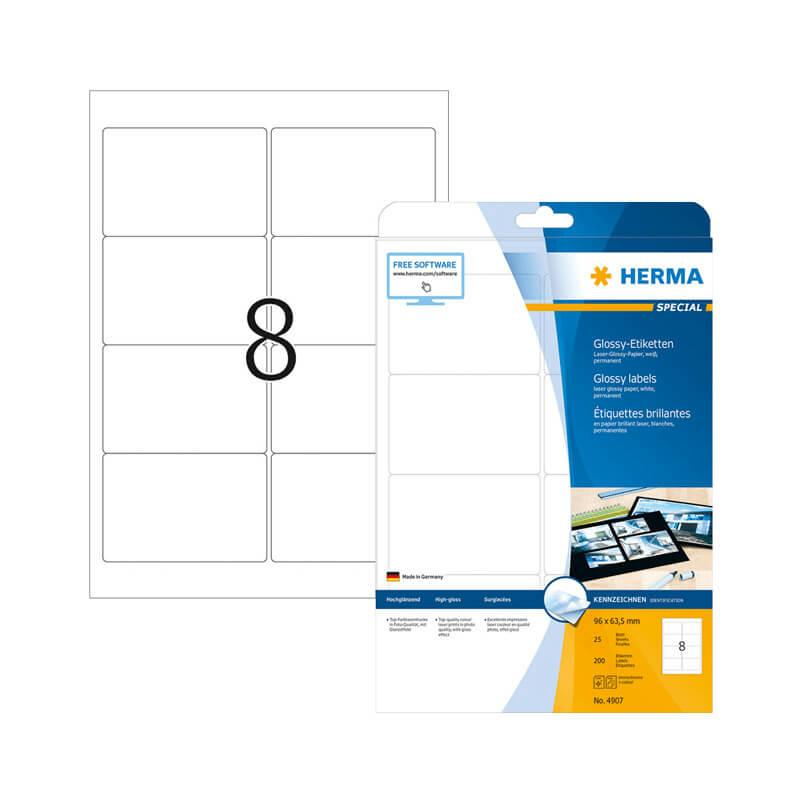 96*63,5 mm-es Herma A4 íves etikett címke, fehér színű (25 ív/doboz)
