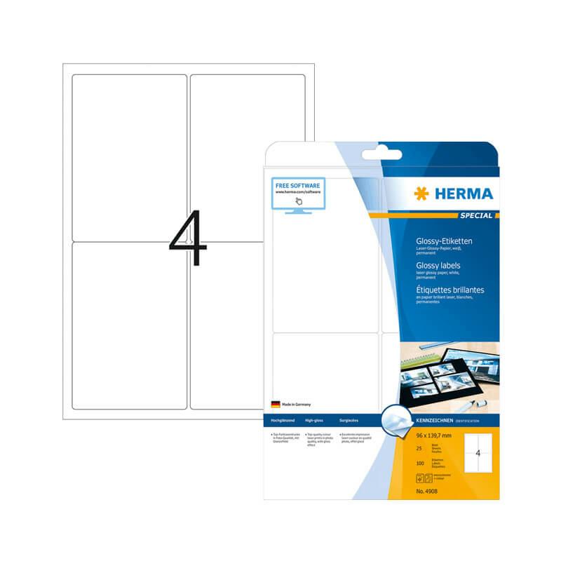 96*139,7 mm-es Herma A4 íves etikett címke, fehér színű (25 ív/doboz)