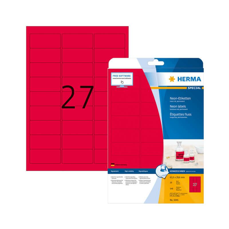 63,5*29,6 mm-es Herma A4 íves etikett címke, neon piros színű (20 ív/doboz)