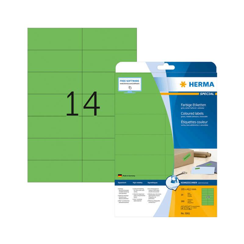 105*42,3 mm-es Herma A4 íves etikett címke, zöld színű (20 ív/doboz)