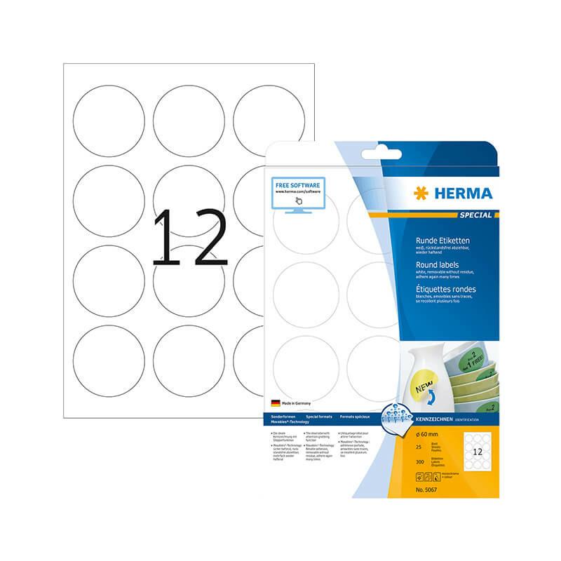 60 mm-es Herma A4 íves etikett címke, fehér színű (25 ív/doboz)