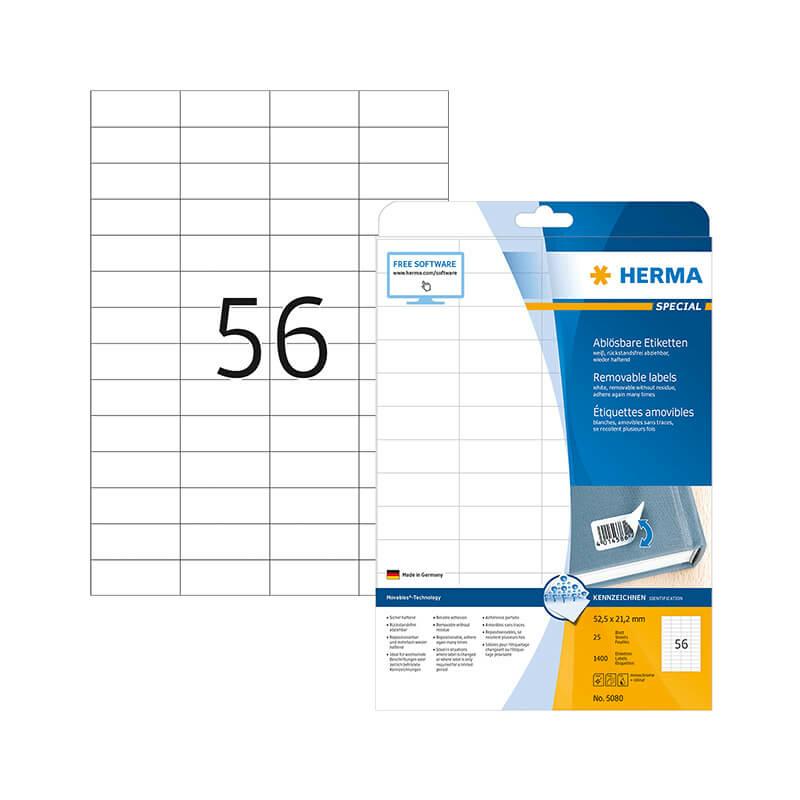 52,5*21,2 mm-es Herma A4 íves etikett címke, fehér színű (25 ív/doboz)