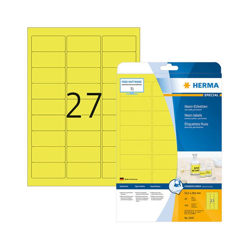 63,5*29,6 mm-es Herma A4 íves etikett címke, neon sárga színű (20 ív/doboz)