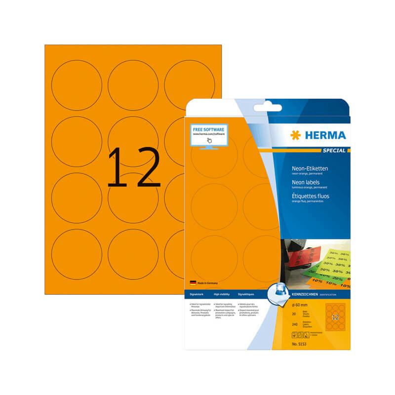 60 mm-es Herma A4 íves etikett címke, neonnarancs színű (20 ív/doboz)