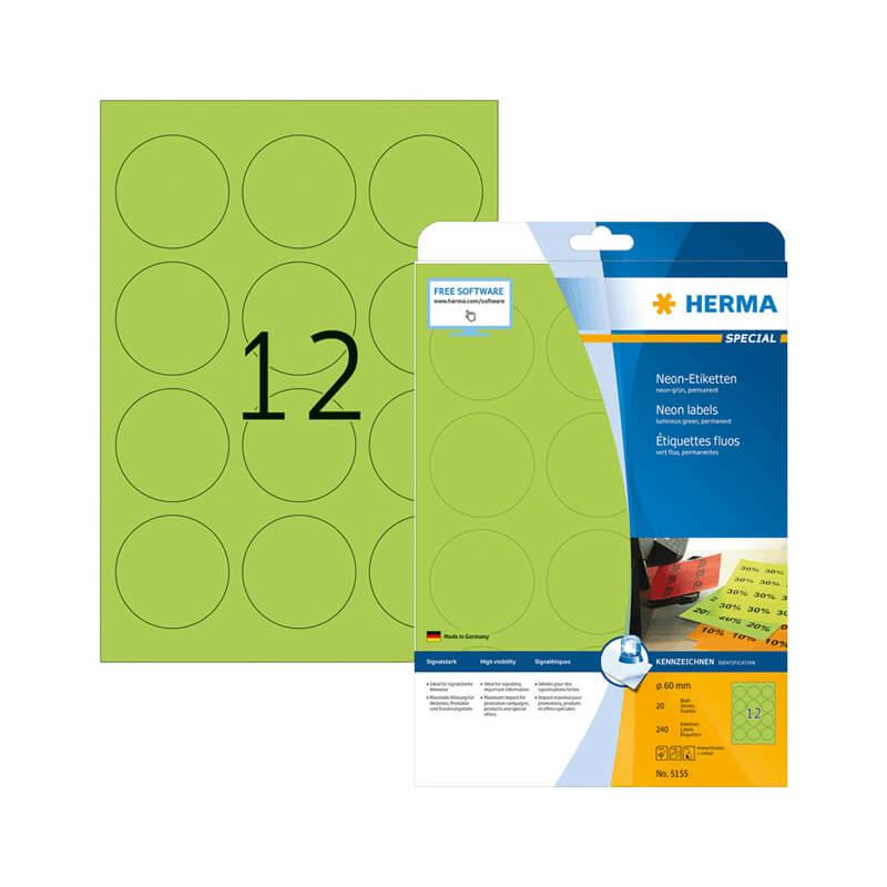 60 mm-es Herma A4 íves etikett címke, neon zöld színű (20 ív/doboz)