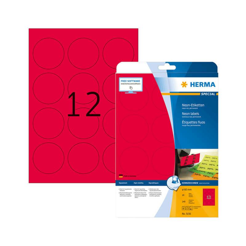 60 mm-es Herma A4 íves etikett címke, neon piros színű (20 ív/doboz)