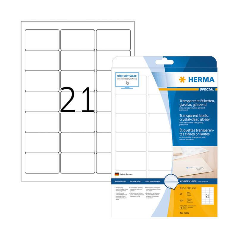 63,5*38,1 mm-es Herma A4 íves etikett címke, átlátszó (víztiszta) színű (25 ív/doboz)