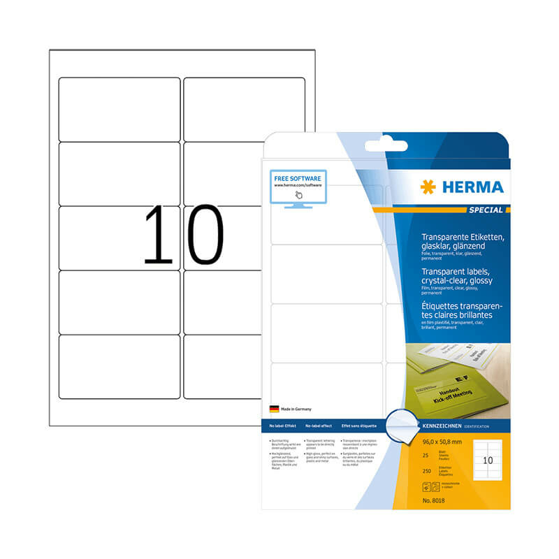 96*50,8 mm-es Herma A4 íves etikett címke, átlátszó (víztiszta) színű (25 ív/doboz)