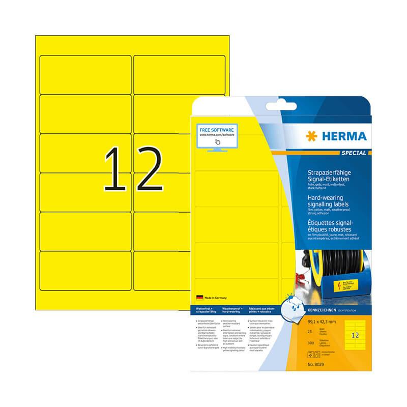 99,1*42,3 mm-es Herma A4 íves etikett címke, sárga színű (25 ív/doboz)