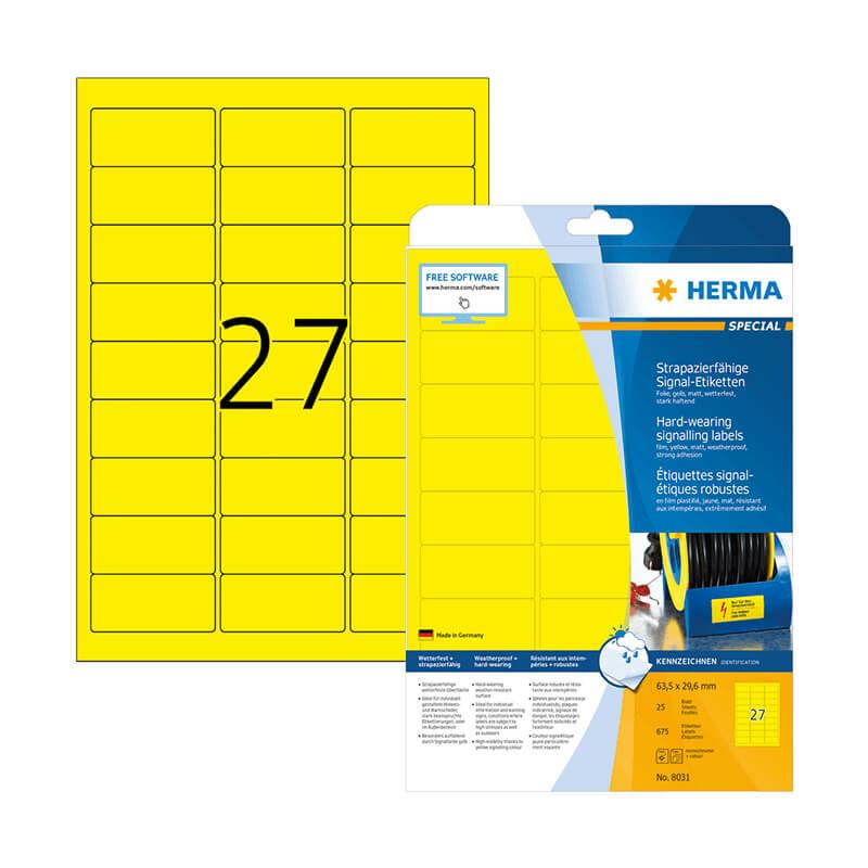 63,5*29,6 mm-es Herma A4 íves etikett címke, sárga színű (25 ív/doboz)