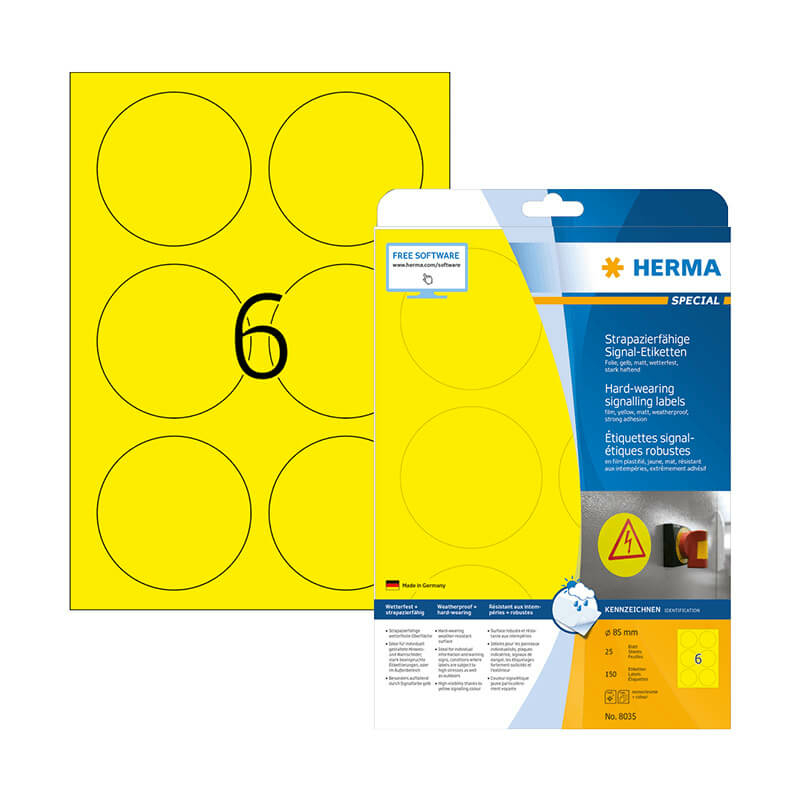 85 mm-es Herma A4 íves etikett címke, sárga színű (25 ív/doboz)