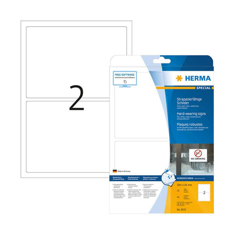 190*135 mm-es Herma A4 íves etikett címke, fehér színű (25 ív/doboz)