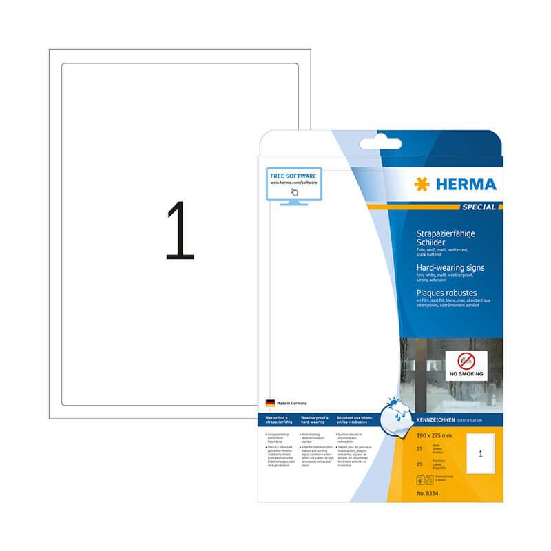 190*275 mm-es Herma A4 íves etikett címke, fehér színű (25 ív/doboz)