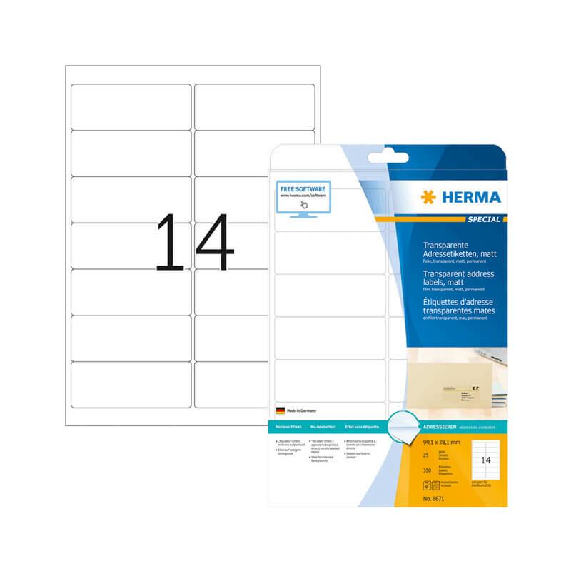 99,1*38,1 mm-es Herma A4 íves etikett címke, átlátszó (víztiszta) színű (25 ív/doboz)