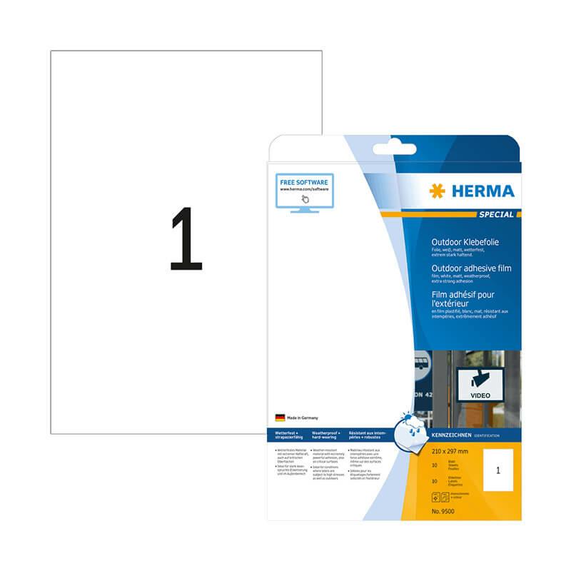 210*297 mm-es Herma A4 íves etikett címke, fehér színű (10 ív/doboz)