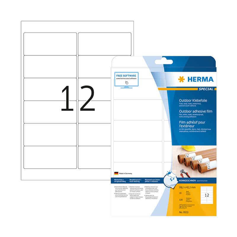 99,1*42,3 mm-es Herma A4 íves etikett címke, fehér színű (10 ív/doboz)