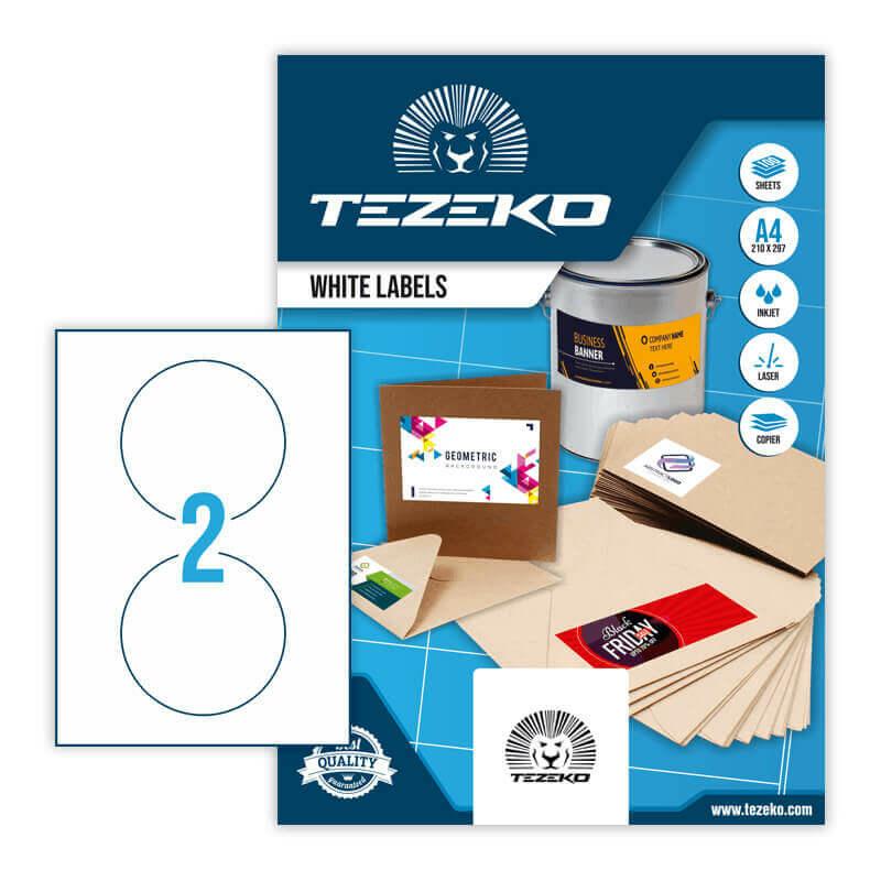 117 mm-es Tezeko A4 íves etikett címke, fehér színű (100 ív/doboz)
