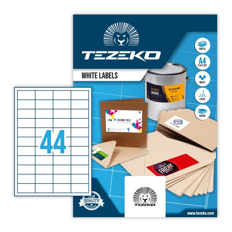 48,5*25,4 mm-es Tezeko A4 íves etikett címke, fehér színű (100 ív/doboz)