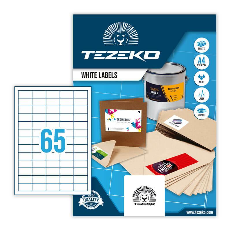 38,1*21,2 mm-es Tezeko A4 íves etikett címke, fehér színű (100 ív/doboz)