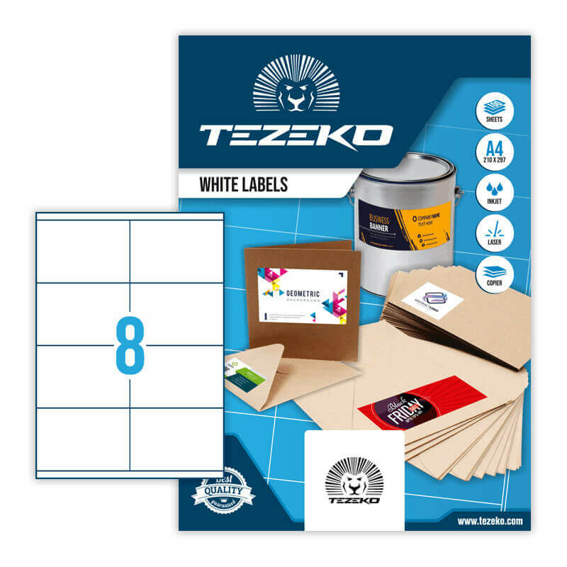 105*70 mm-es Tezeko A4 íves etikett címke, fehér színű (100 ív/doboz)