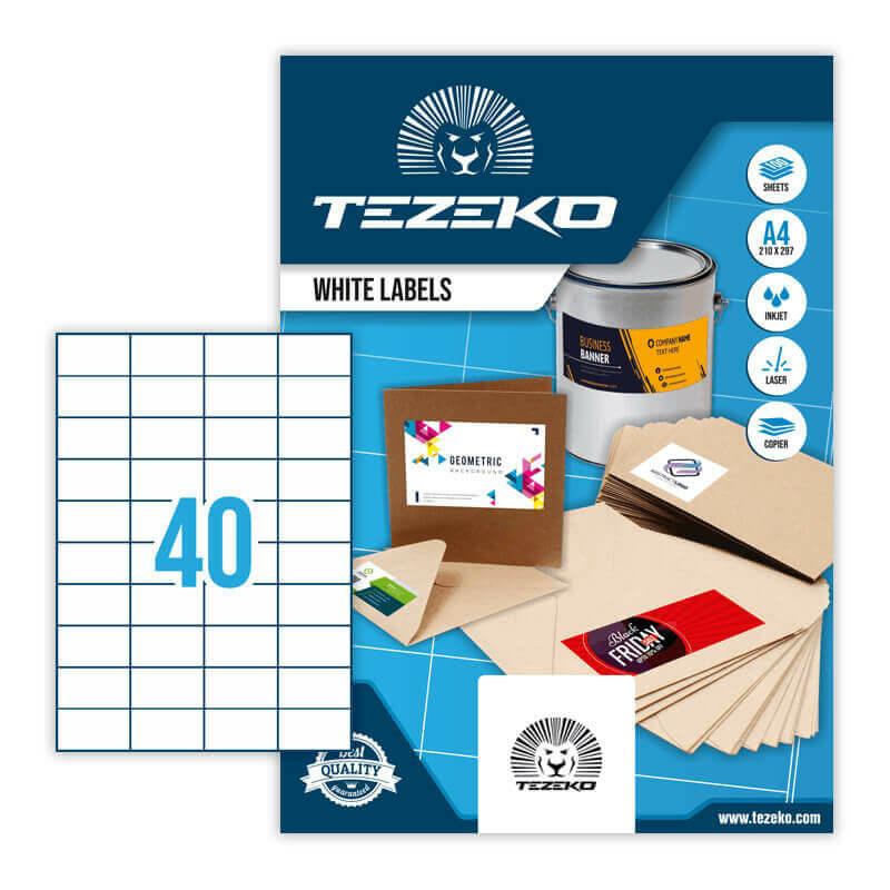 52,5*29,6 mm-es Tezeko A4 íves etikett címke, fehér színű (100 ív/doboz)