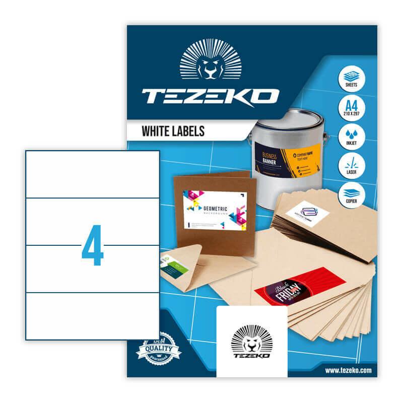210*74 mm-es Tezeko A4 íves etikett címke, fehér színű (100 ív/doboz)