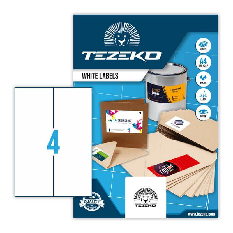 105*297 mm-es Tezeko A4 íves etikett címke, fehér színű (100 ív/doboz)
