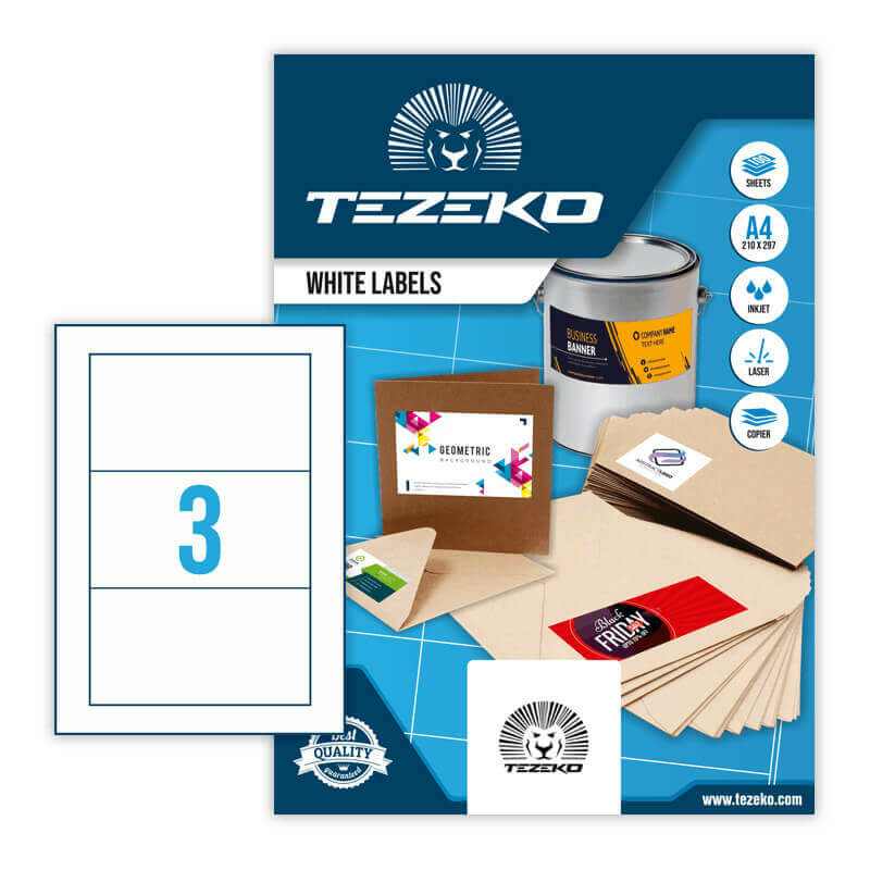 160*85 mm-es Tezeko A4 íves etikett címke, fehér színű (100 ív/doboz)